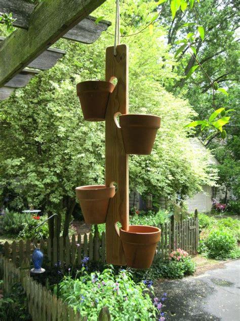 Flower Pot Hangers - flower pot plant hanger wood garden herbs pots