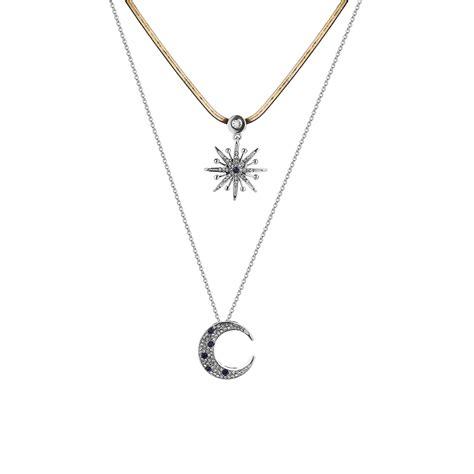 Rhinestone Moon Pendant Necklace trendy layer rhinestone inlay moon pendant