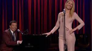 gwyneth paltrow sings broadway versions of rap songs gwyneth paltrow in nude pantsuit on the tonight show