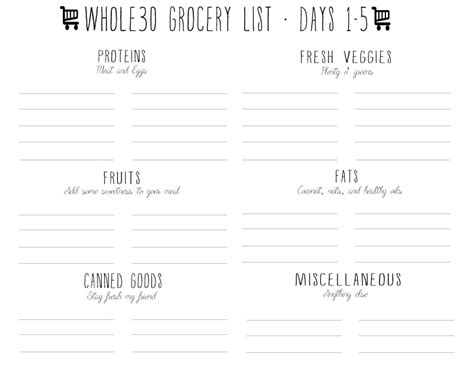 Preparing Your Whole30 Free Printables Fit Your Whole Meal Plan On One Page Pins And Whole30 Meal Plan Template