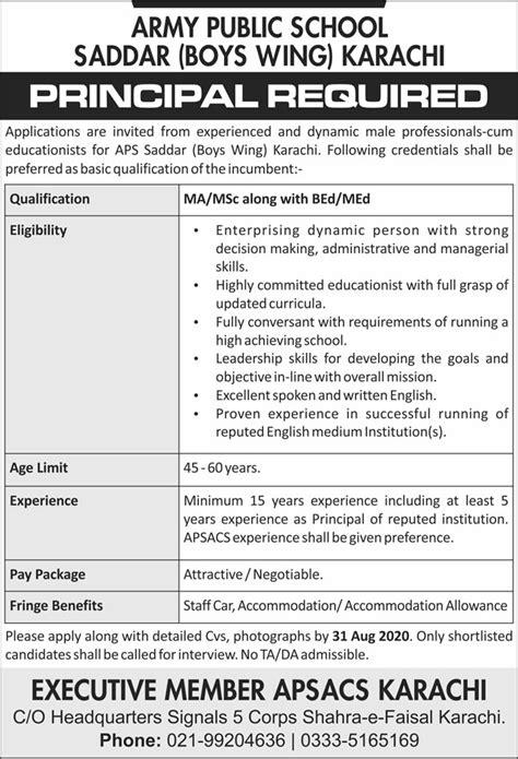 APS Karachi Jobs 2020 for Principal Latest - Jobsborse