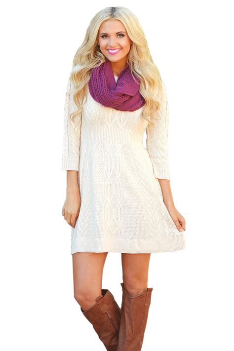 Sleeve Cable Knit Dress trendy white cable knit fitted 3 4 sleeve sweater dress