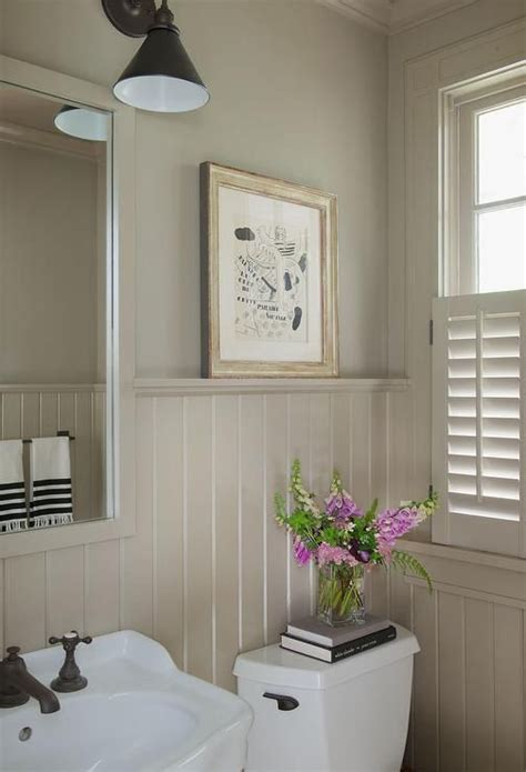 Cottage Wainscoting by Cottage Powder Room Features Walls Painted Taupe And