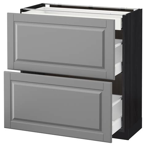 ikea kitchen bodbyn base cabinet with 3 drawers 1 metod maximera base cab with 2 fronts 3 drawers black