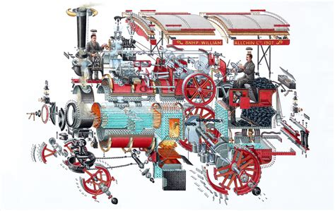 steam locomotive cutaway diagram stephen biesty illustrator poster and exhibitions