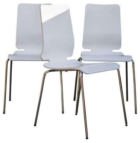white dining chairs with chrome legs set of 4