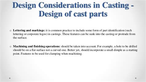 pattern design considerations in casting design of castings and selection of the parting line