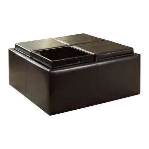 home depot storage ottoman homesullivan dark brown vinyl storage ottoman with four