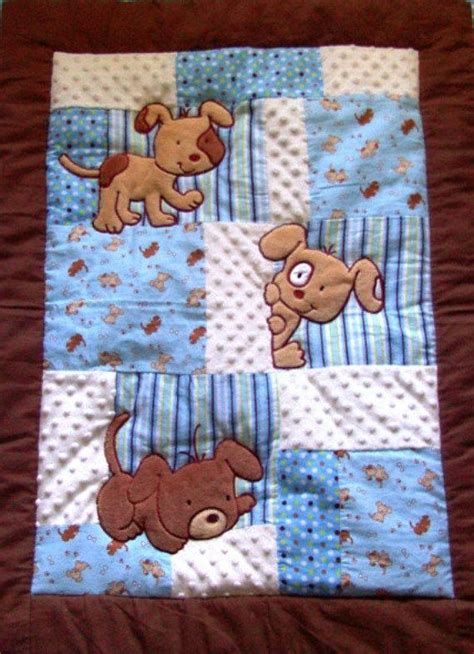 Patchwork Baby - this adorable puppy baby blanket has a combination of