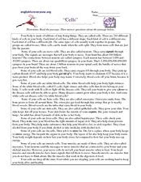 Cell Reading Comprehension Worksheet by Quot Cells Quot Reading Comprehension Informational Passages 5th