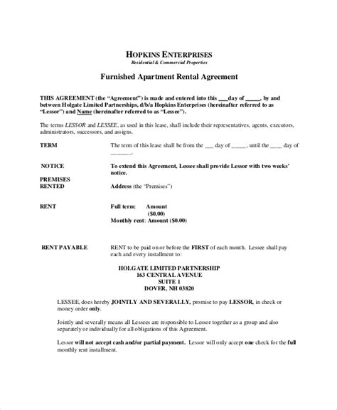 apartment rental agreement template apartment lease agreement 9 free pdf word