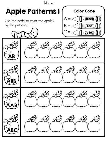 pattern activities for prep apple time no prep worksheets the o jays coloring and
