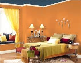 Interior paints for bedrooms orange blue bedroom wall paint color