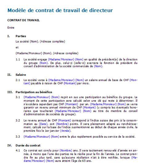 contrat de travail de directeur mod 232 le 224 t 233 l 233 charger