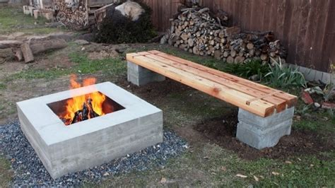 making concrete benches diy fire pit bench fire pit ideas