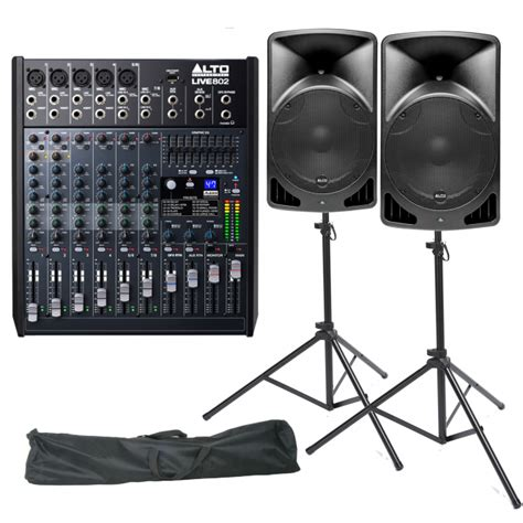Mixer Alto Live 802 alto live 802 mixer tx12 pa speaker stands dj bundle from rimmers m