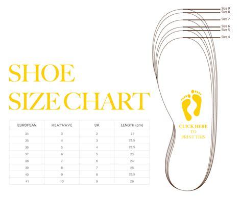 shoe size chart printable search results calendar 2015