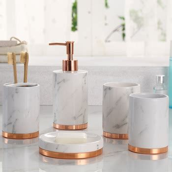 rose gold bathroom accessories marble effect 5pcs ceramic bathroom accessories set with