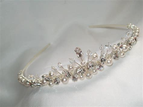 Handmade Tiaras Uk - handmade swarovski wedding bridal tiara ivory pearls clear