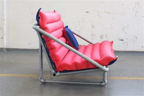 pvc couch simple diy silver pvc pipe chair design with red cushions