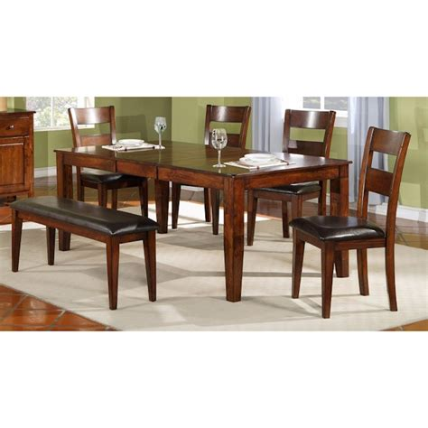 6 piece dining set with bench mango 6 piece dinette set with bench bernie phyl s