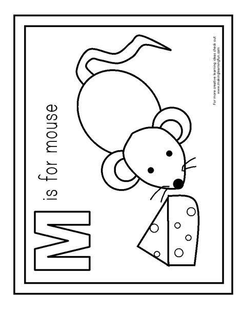 abc learning coloring pages free coloring pages of m is for mouse