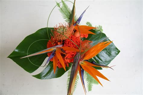 martini table with bird the flower magician bird of paradise wedding bouquet
