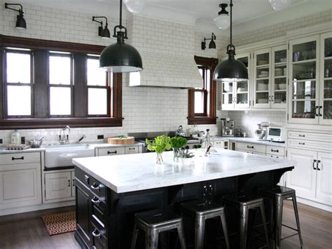 industrial kitchen cabinets traditional kitchen in white subway tile with black island