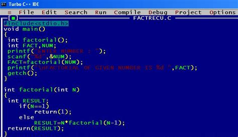 pattern programs in c using recursion c program factorial of a number recursively computer