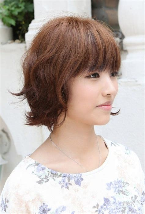k mitchell short hairstyles with a soft bang asian hairstyles soft casual wavy brown bob haircut
