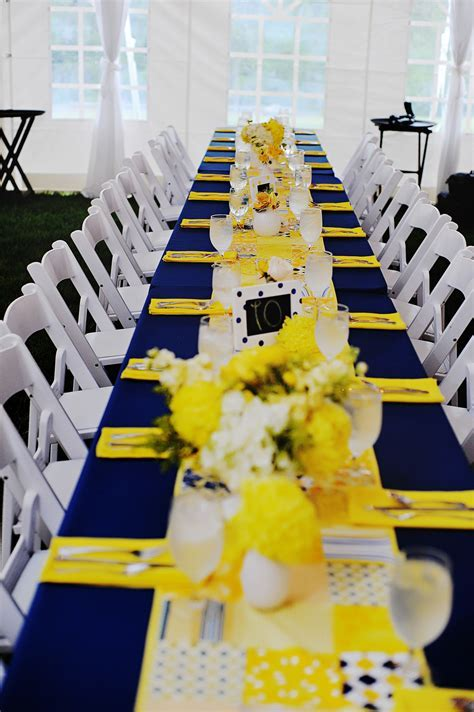 Navy and Yellow Reception Decor