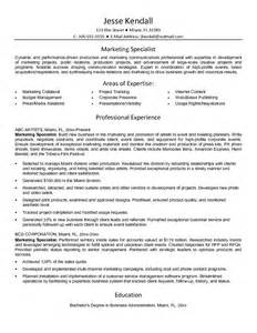 Specialist Resume by Exle Marketing Specialist Resume Free Sle
