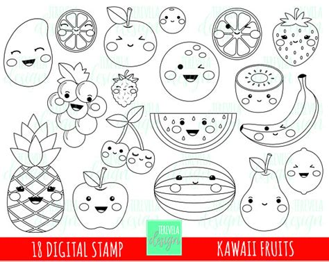 kawaii fruit coloring pages 80 sale fruits digital st fruits st kawaii fruit