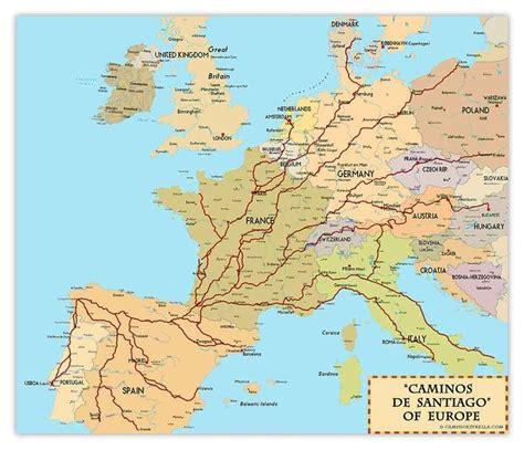 camino trail map caminos de santiago of europe print by marc