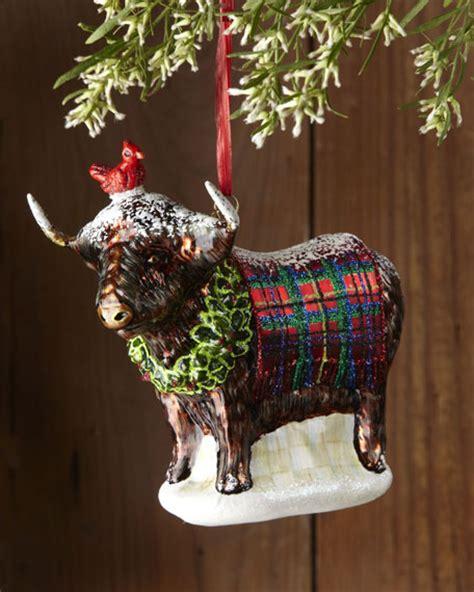 scottish highland christmas decorating ideas mackenzie childs highland cow ornament