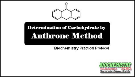 carbohydrates form 4 anthrone method for determination of carbohydrate