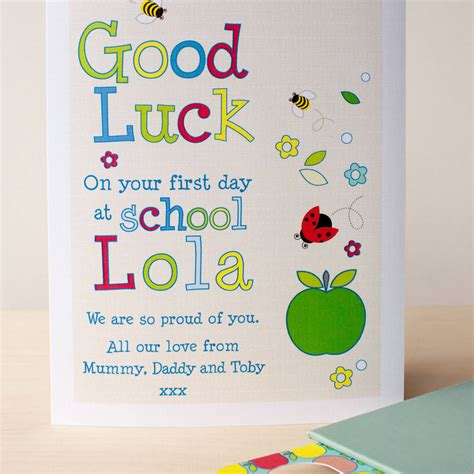 cards at school personalised day at school card with bookmark by