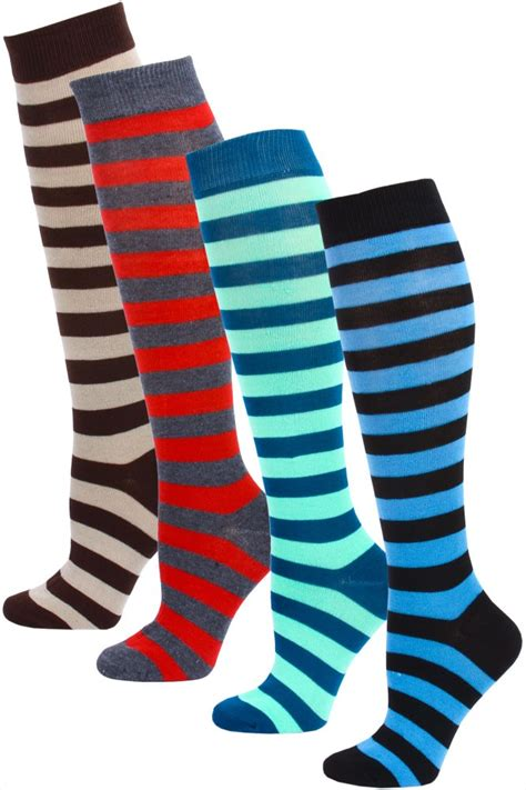 Mamia Brown bright striped knee socks for
