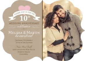 pink heart 10th wedding anniversary invitation 10th