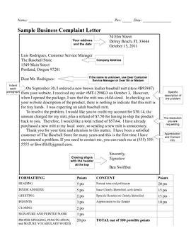 Complaint Letter Rubric business letter modified block complaint with 100 point