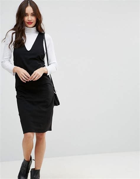 V Neck Midi Pinafore Dress asos asos midi column pinafore dress with v front