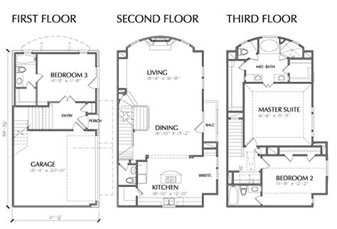 3 floor building plan 3 story multi unit townhouse floor plan