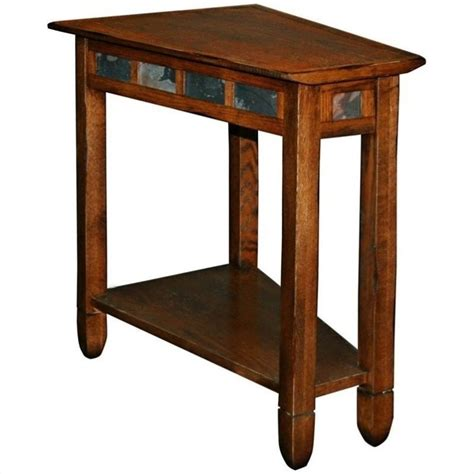 leick furniture rustic slate recliner wedge end table in
