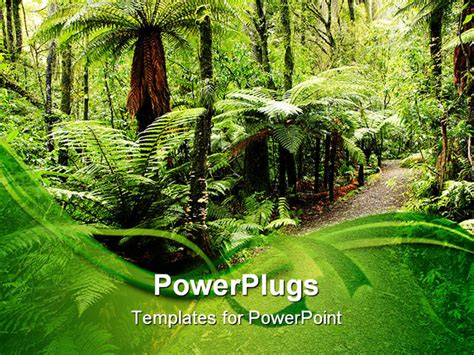 powerpoint template walking path through natural tropical