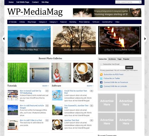 wordpress themes with video wp media magazine wordpress theme wpthemes com