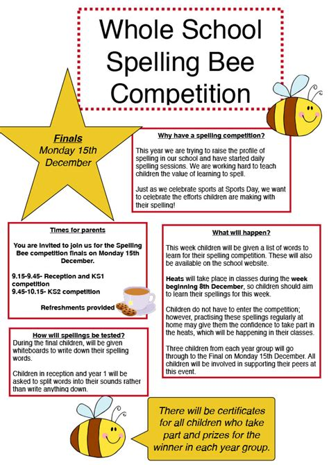 Parent Letter Spelling Whole School Spelling Bee Competition