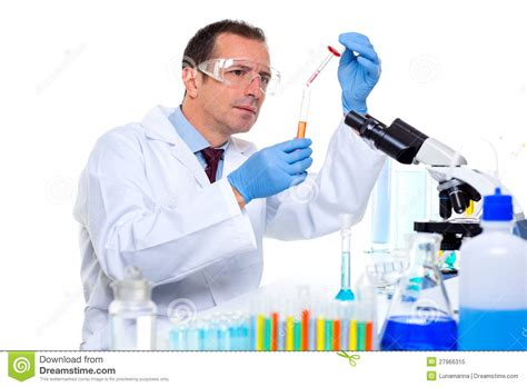 Desk Plans by Laboratory Scientist Working At Lab With Test Tubes