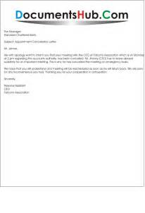 Cancellation Of Appointment Letter Format Meeting Cancellation Letter Sle Documentshub