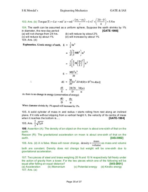 engineering mechanics question and answers for gate ias