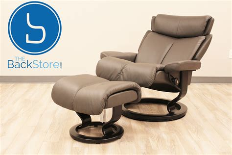 stressless leather chair and ottoman stressless magic large paloma rock color leather by